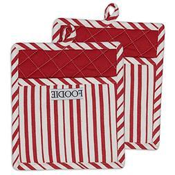 "DII Cotton Gourmet Stripe Pot Holders with Pocket, 9 x 8"" Se"