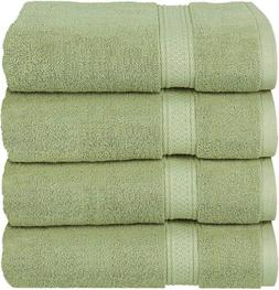 Cotton 100% Large Hand Towels Green 4 Piece Towel Set Bath T