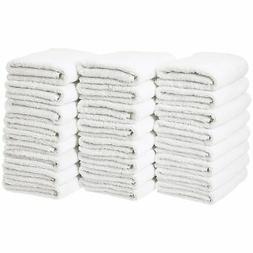 AmazonBasics Cotton Hand Towel - 24-Pack, White New
