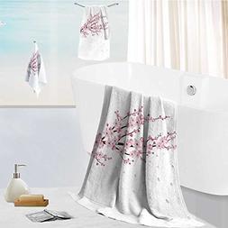 aolankaili Cotton Large Hand Towel Set Cherry Blossom Realis