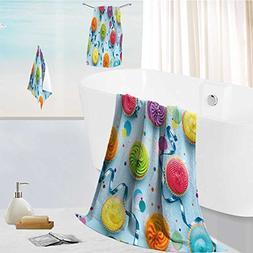 aolankaili Cotton Large Hand Towel Set colorful cupcake part