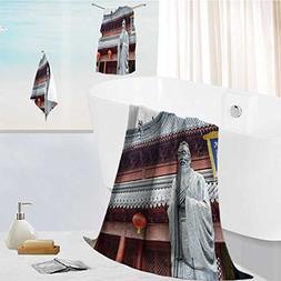 aolankaili Cotton Large Hand Towel Set Confucius Statue Text
