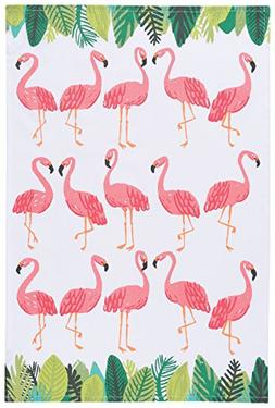 Now Designs Cotton Kitchen Towel, Flamingos Print