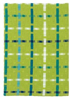"Traders and Company 100% Cotton Lime Aqua & Blue Plaid 20""x2"
