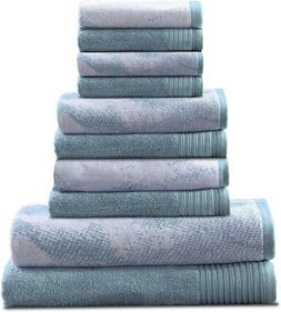 Superior 100% Cotton Marble Effect 10-Piece Towel Set, Solid