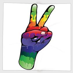 Cotton Microfiber Hand Towel,Groovy Decorations,Hand Peace a