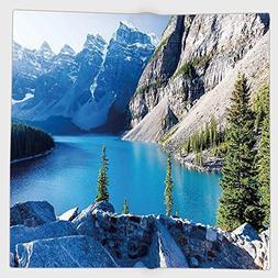 Cotton Microfiber Hand Towel,Nature,Moraine Lake Banff Natio