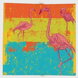 Cotton Microfiber Hand Towel,Flamingo Decor,Illustration of