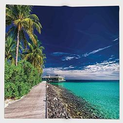 Cotton Microfiber Hand Towel,Ocean,A Wooden Boardwalk at the