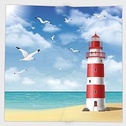 Cotton Microfiber Hand Towel,Beach,Realistic Illustration Li