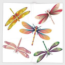 Cotton Microfiber Hand Towel,Dragonfly,Five Spiritual Bugs i