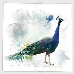 Cotton Microfiber Hand Towel,Animal,Digital Watercolor of Pe