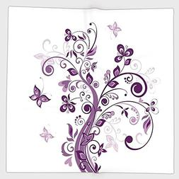 Cotton Microfiber Hand Towel,Mauve Decor,Tree with Swirled B