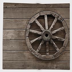 Cotton Microfiber Hand Towel,Barn Wood Wagon Wheel,Antique A