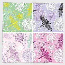Cotton Microfiber Hand Towel,Dragonfly,Set of Four Floral Fr