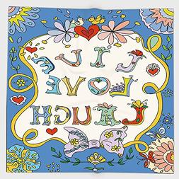 Cotton Microfiber Hand Towel,Live Laugh Love Decor,Colorful