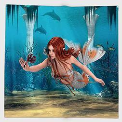 Cotton Microfiber Hand Towel,Mermaid,Lifelike Mermaid Holdin