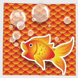 Cotton Microfiber Hand Towel,Burnt Orange,Cute Small Goldfis