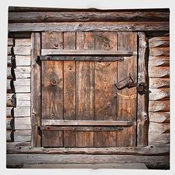 Cotton Microfiber Hand Towel,Vintage,Rustic Wooden Door of O