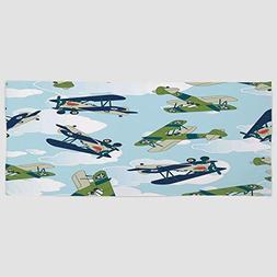 iPrint Cotton Microfiber Hand Towel [ Airplane Decor,Vintage