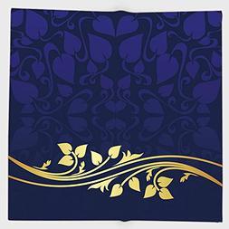 Cotton Microfiber Hand Towel,Navy Blue Decor,Romantic Royal