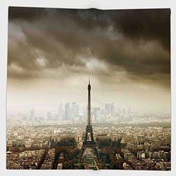Cotton Microfiber Hand Towel,Eiffel Tower Decor,Paris Skylin