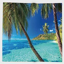 Cotton Microfiber Hand Towel,Ocean,Image of a Tropical Islan