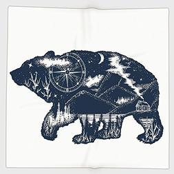 Cotton Microfiber Hand Towel,Cabin Decor,Bear Double Exposur