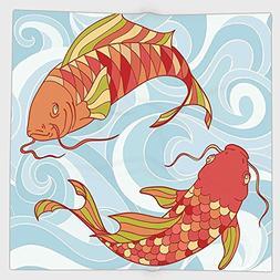 Cotton Microfiber Hand Towel,Koi Fish,Hand Drawn Colorful Ko