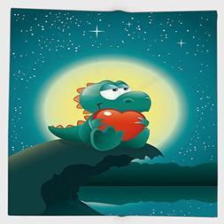 Cotton Microfiber Hand Towel,Dinosaur,Valentine Night Scener