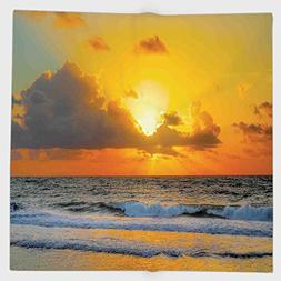 Cotton Microfiber Hand Towel,Ocean Decor,Morning at the Beac