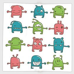 Cotton Microfiber Hand Towel,Doodle,Twelve Monsters Side by