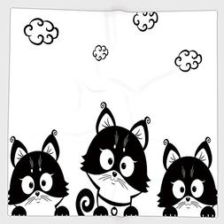 Cotton Microfiber Hand Towel,Black and White,Cute Three Kitt