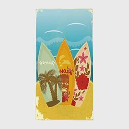 One Side Printing Hotel SPA Beach Pool Bath Hand Towel,Tiki