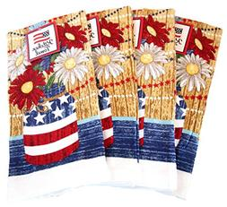100% Cotton Patriotic American Flag Kitchen Towels - Set of