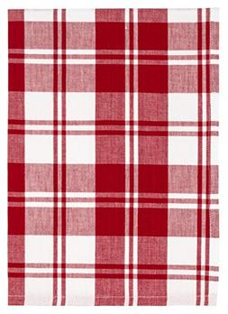 """100% Cotton Red Plaid 20""""x28"""" Dish Towel, Set of 6 - French"""
