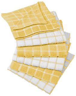 DII Cotton Terry Windowpane Dish Cloths, 12 x 12 Set of 6, M