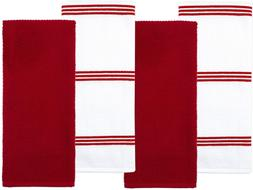 Sticky Toffee Cotton Terry Kitchen Dish Towel, Red, 4 Pack,