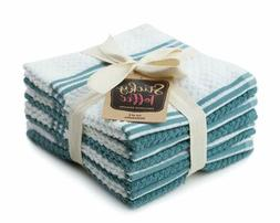 Sticky Toffee Cotton Terry Kitchen Dishcloth, Blue, 8 Pack,