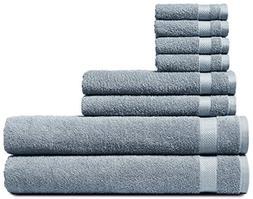 Welhome Cotton 8 Piece Towel Set; 2 Bath Towels, 2 Hand Towe