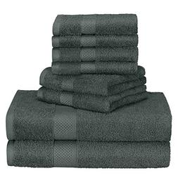 Homitt 100% Cotton 8 Piece Towel Set, Fade-Resistant and Ant