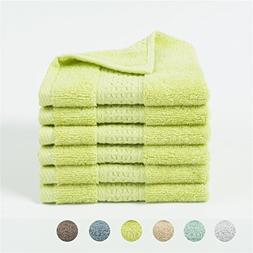 Lotus Karen Cotton 6-Piece Washcloths,High Absorbent Extra S