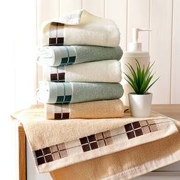 Cotton Women Face Hand Towels Plaid Bathroom Towels Soft Ski