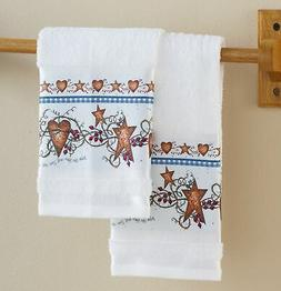 Country Hearts and Stars Hand Towels For Bathroom Or Kitchen