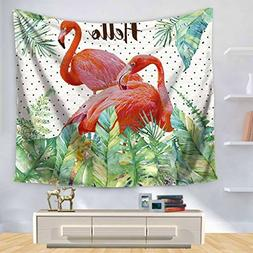 YQ Park Creative Flamingo Tapestry Tropical Plant Leaves Wal
