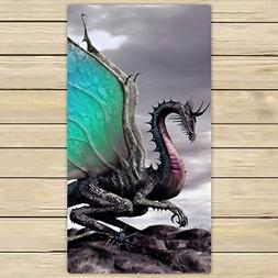 Custom Ancient Dragon Pattern Hand Towel,Spa Towel,Beach Bat