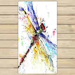 Custom Colorful Dragonfly Art Towels,Beach Bath Pool Sprot T