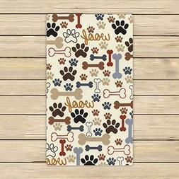 Custom Dog Paws and Bones Hand Towel,Spa Towel,Beach Bath To