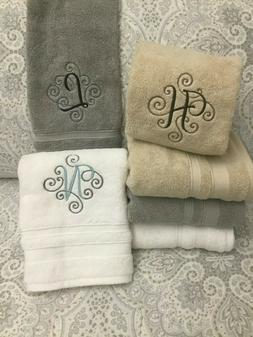 Custom Monogram Embroidered Hand Towel - Gray White or Tan *