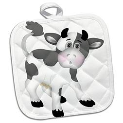 3dRose Cute Gray and White Cow Illustration Potholder, 8 x 8